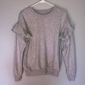 Aerie Gray Scoop Neck Ruffle Long Sleeve Sweater